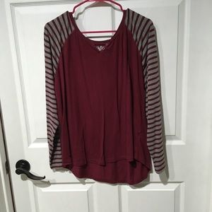 Striped Maroon and Grey Long Sleeved T-Shirt.